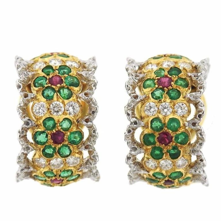 Buccellati Emerald Ruby Diamond Gold Hoop Earrings For