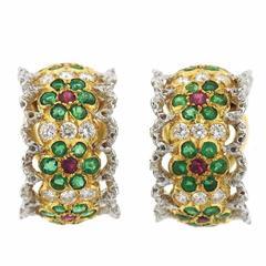 Buccellati Emerald Ruby Diamond Gold Hoop Earrings