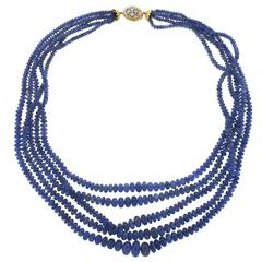 Mario Buccellati Sapphire Diamond Gold Bead Multi Strand Necklace