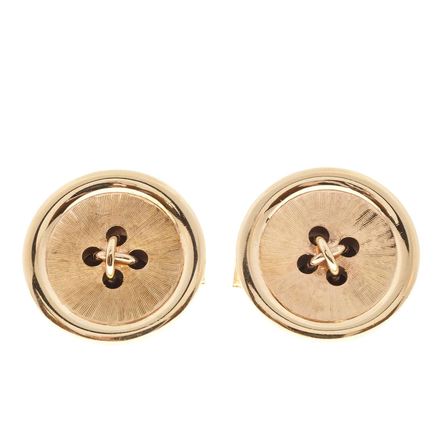 1950s Gold Button Style Cufflinks For Sale at 1stdibs