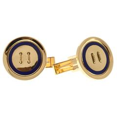Blue Enamel Button Style Gold Cufflinks