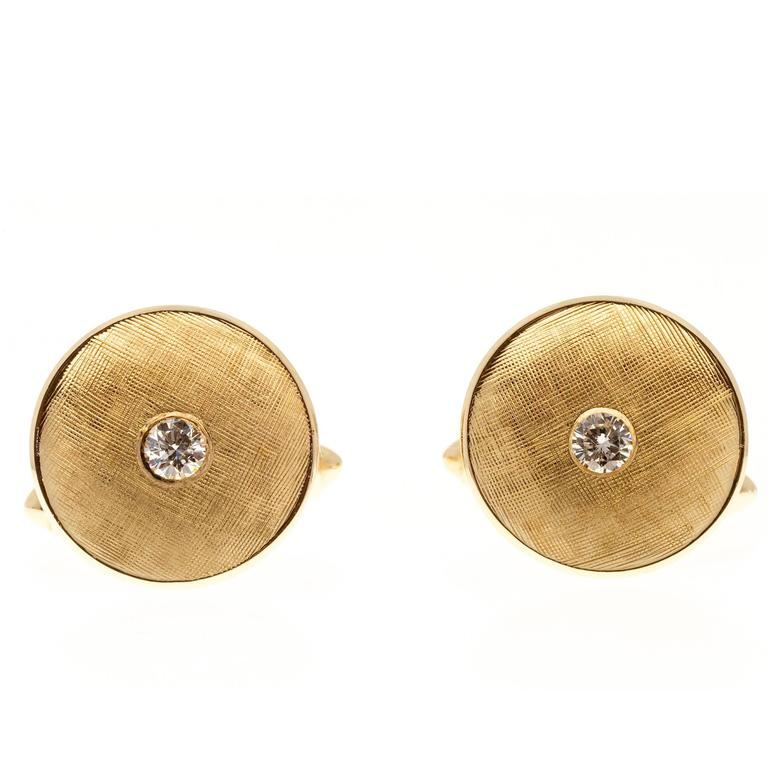Larter & Sons Diamond Round Concave Gold Cufflinks For Sale