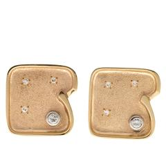 1960s Diamond Gold Textured Cufflinks