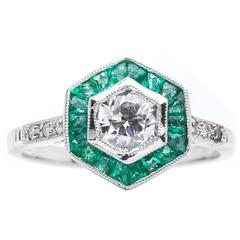Diamond Emerald Target Ring in Platinum
