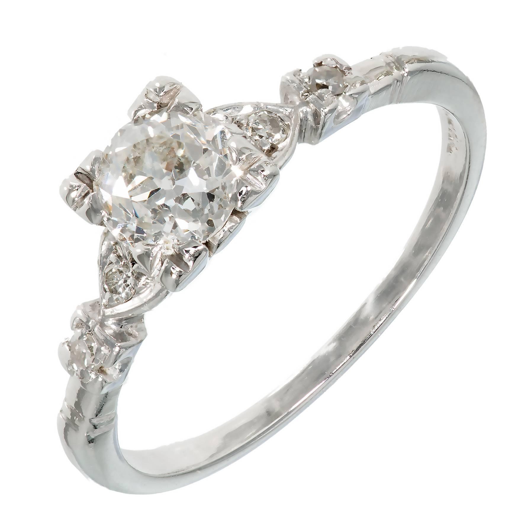 Art Deco .80 Carat Old European Cut Diamond Platinum Engagement Ring