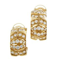 Cartier Diamond Gold Huggie Earrings
