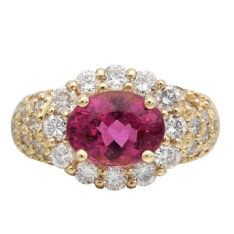 Pink Tourmaline Diamond Gold Cluster Ring