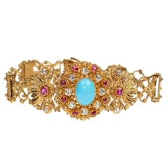 Victorian Turquoise Ruby Diamond Gold Bracelet
