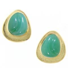 Roberto Burle Marx Chrysoprase Gold Forma Livre Earrings