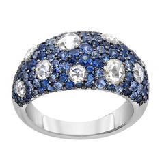 Sapphire Diamond Gold Band Ring