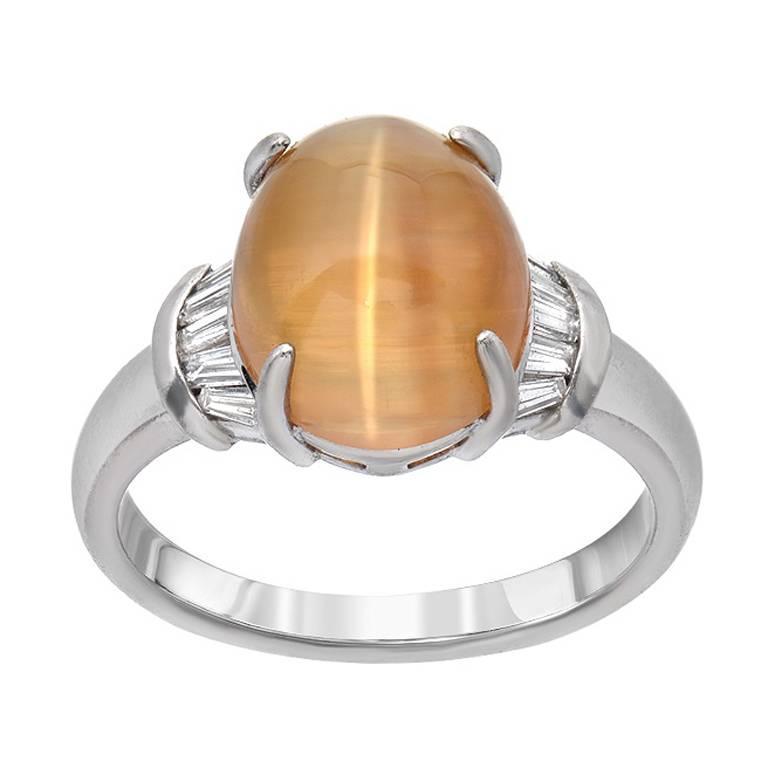 Cat's-Eye Chrysoberyl  Diamond Cocktail Platinum  Ring
