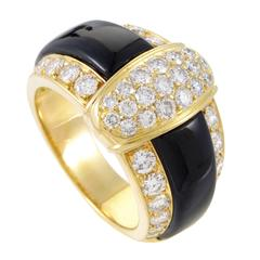 Van Cleef & Arpels Onyx Diamond Gold Band Ring