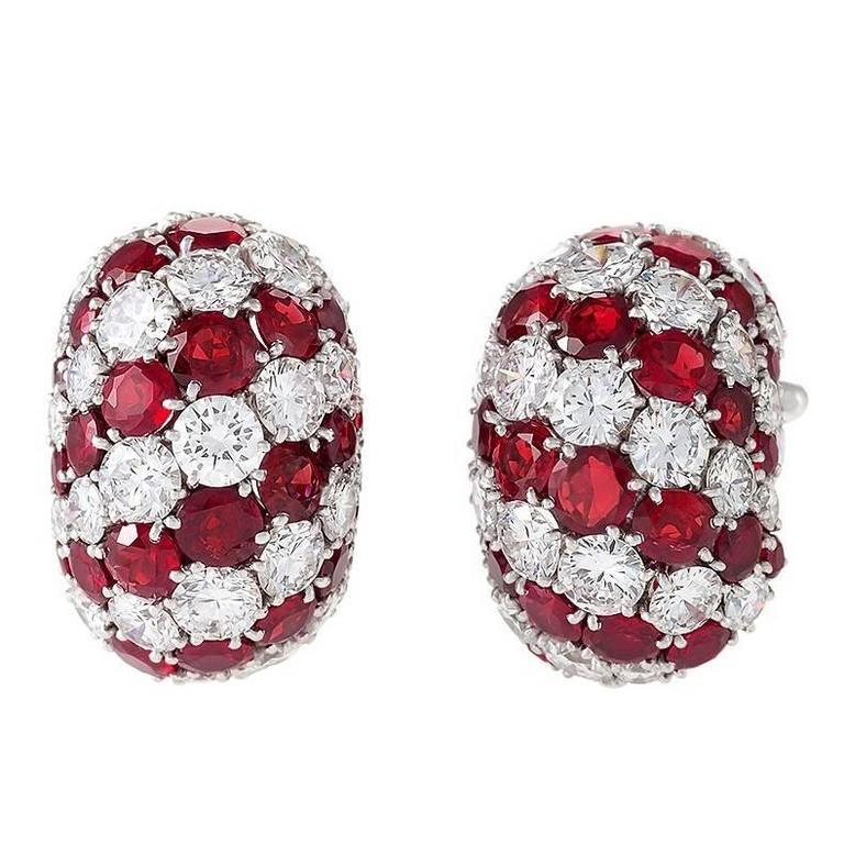 Van Cleef & Arpels Paris 1960's Diamond Ruby Platinum Earrings