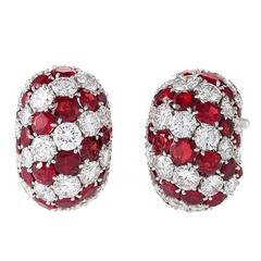 Van Cleef & Arpels Paris Mid-20th Century Diamond Ruby Platinum Earrings