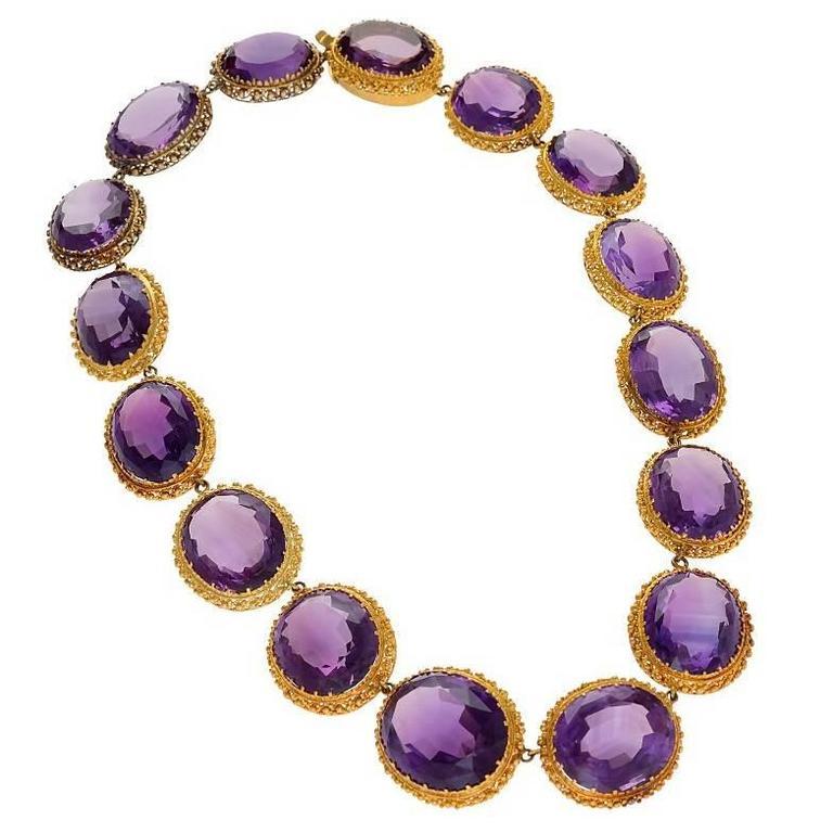 Antique Amethyst  Gold Rivière Necklace