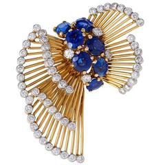 Cartier Paris Mid-20th Century Sapphire Diamond Gold Platimum Bow Brooch