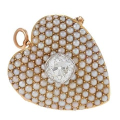 Antique Diamond Seed Pearl Gold Heart Pendant Brooch