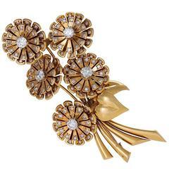 "Van Cleef & Arpels Paris Retro Diamond and Gold ""Bouquet' Brooch"