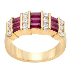 Gemlok Ruby Diamond Gold Band Ring