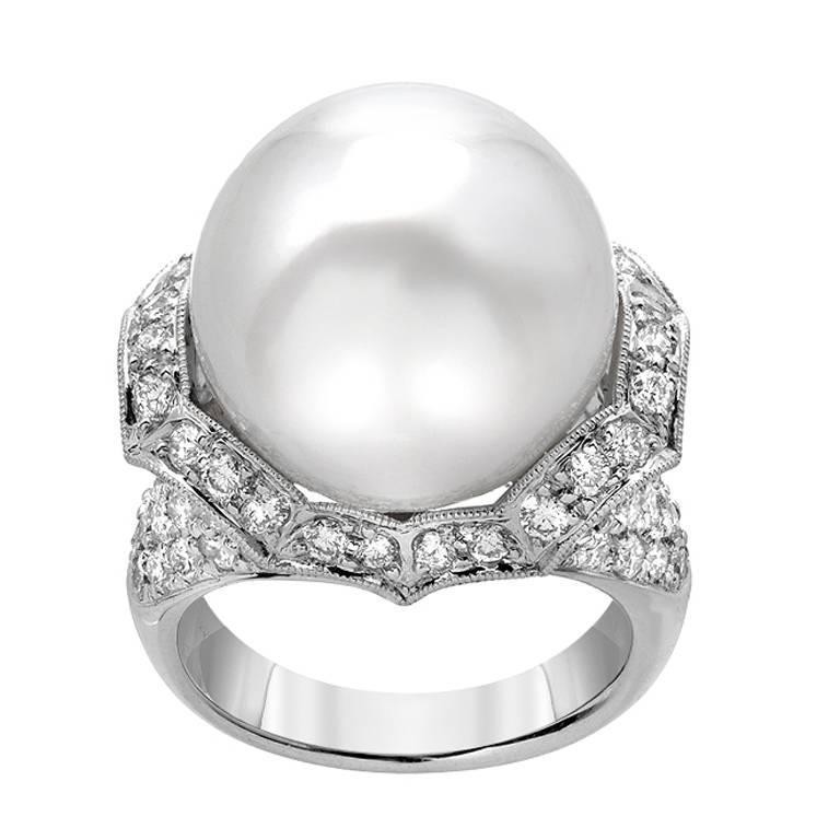 South Sea Pearl Diamond Pave Gold Ring
