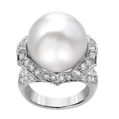 Round South Sea Pearl Diamond Pave Gold Ring