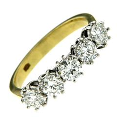 Diamond and 18k Gold Five Stone Ring
