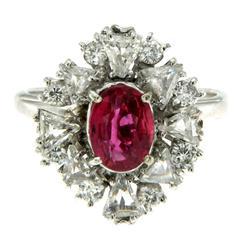 1.55 Carat AGL Cert Ruby Diamond Gold Cluster Ring