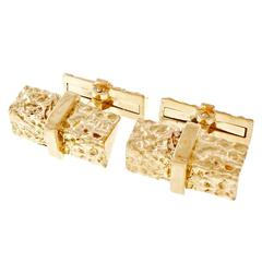Two Sided Gold Bark Cufflinks