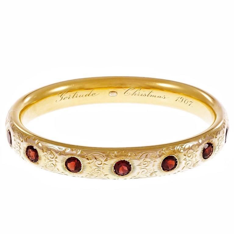 Garnet Engraved Gold Bangle Bracelet