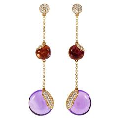Amethyst Diamond Pavé Gold Dangle Earrings