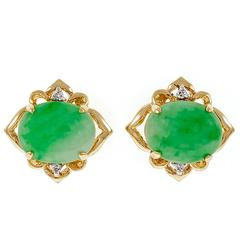 Jadeite Jade Diamond Gold Earrings