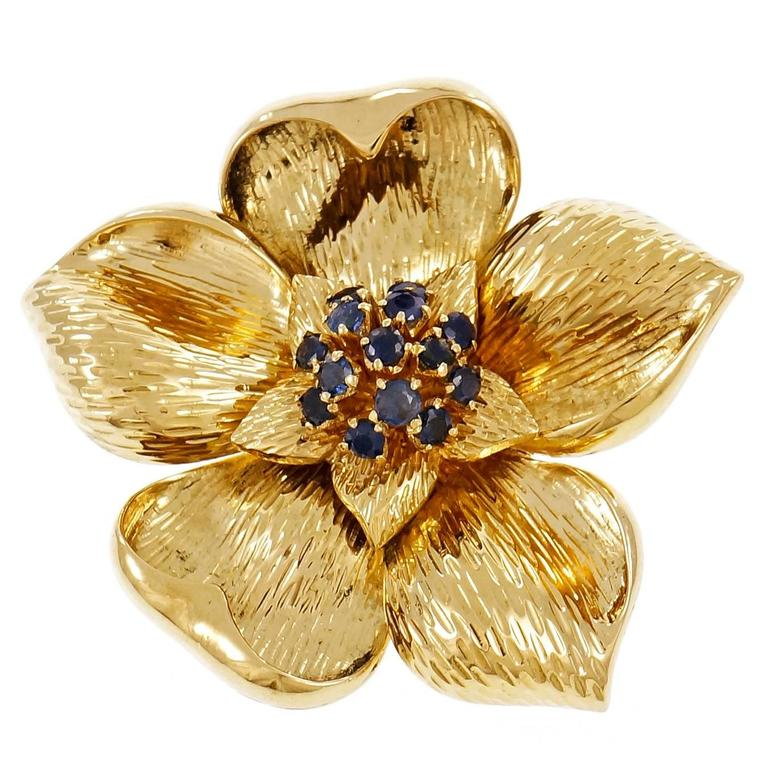 ec7d7daba7e27 Tiffany & Co. Sapphire Gold Flower Pin Brooch