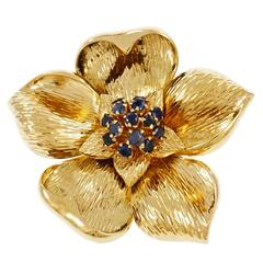 Tiffany & Co. Sapphire Gold Flower Pin Brooch