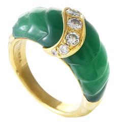 Van Cleef & Arpels Chrysoprase Diamond Gold Band Ring
