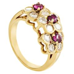 Van Cleef & Arpels Ruby Diamond Gold Floral Band Ring