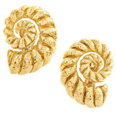 David Webb Gold Coiled Rope Clip-On Earrings