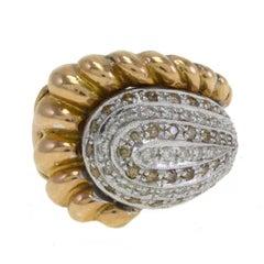 Cornucopia Fancy Brown and White Diamonds Gold Ring