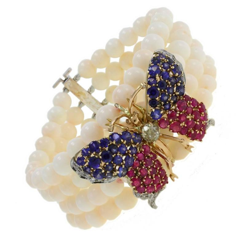 Coral Ruby Sapphire Diamond Gold Butterfly Gold Bracelet