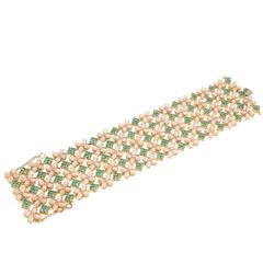 Pink Coral Emerald Diamond Gold Bracelet