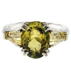 Natural Green Yellow Sapphire Platinum Three-Stone Engagement Ring