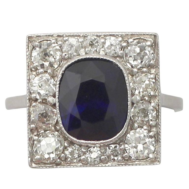 1920s Antique 2.93 Carat Sapphire and Diamond White Gold Cocktail Ring