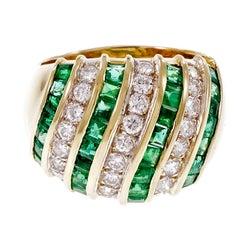 Emerald Diamond Dome Gold Cocktail Dome Ring