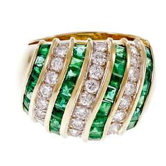 Emerald Diamond Dome Gold Cocktail Dome Ring