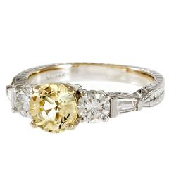 Peter Suchy Natural Light Yellow Sapphire Diamond Engagement Ring