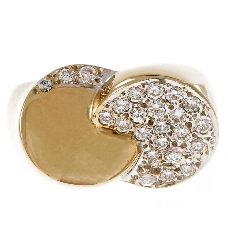 Diamond Pave Dome Swirl Gold Cocktail Ring