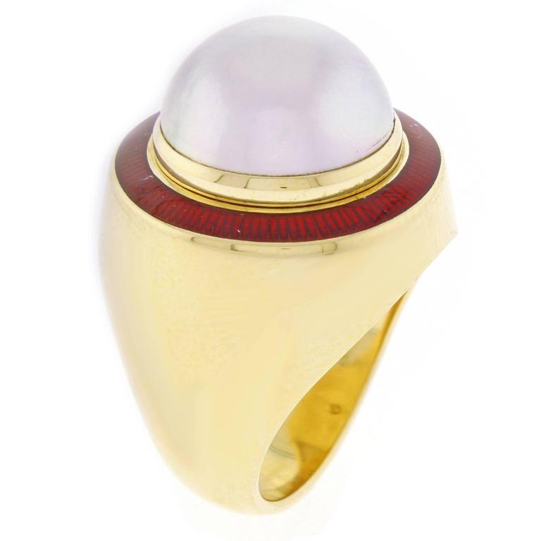 1980s Leo De Vroomen Mabé Pearl Enamel Gold Ring  1