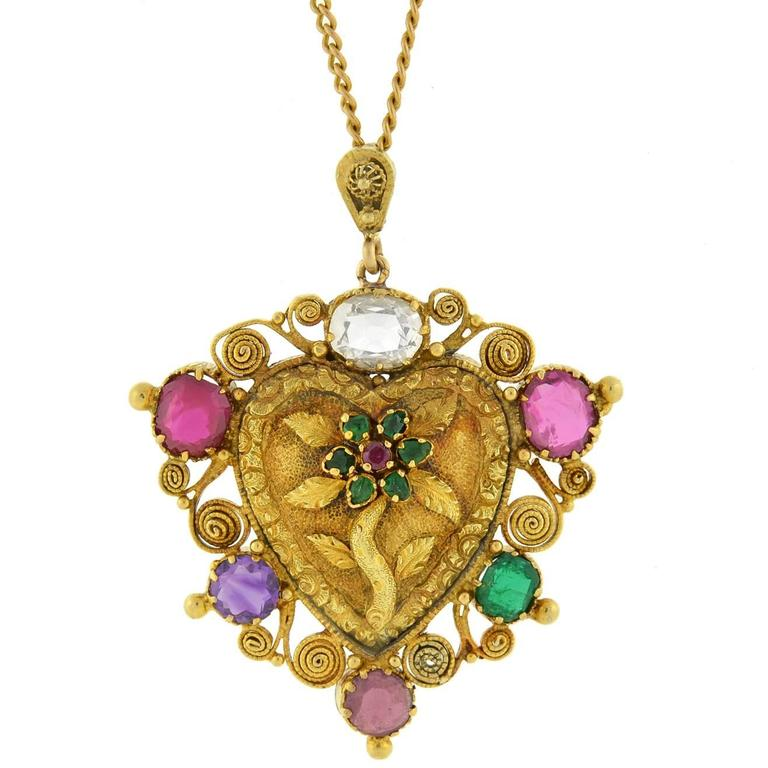 "Victorian ""REGARD"" Gemstone Floral Heart Necklace For Sale"
