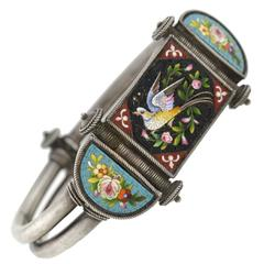 Victorian Sterling Micro Mosaic Bracelet with Bird Motif