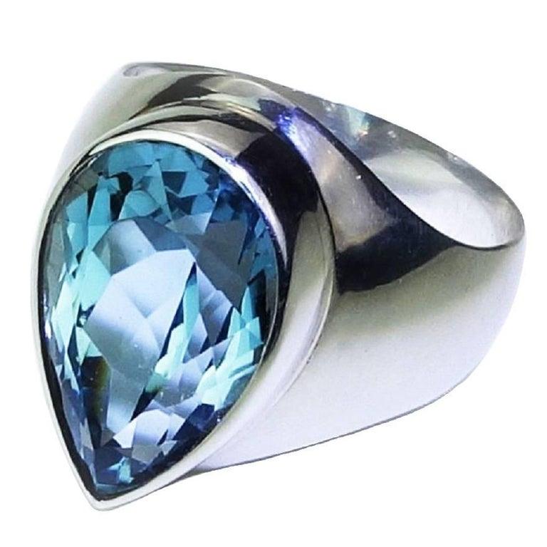 Handmade Long Pear Shape Bright Blue Topaz Bezel Set in Sterling Silver Ring