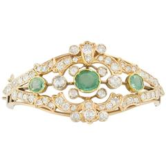 Antique Emerald Diamond Gold Bangle Bracelet